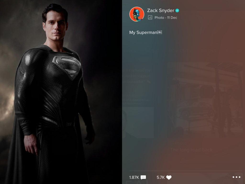 Zack Snyder post on Vero