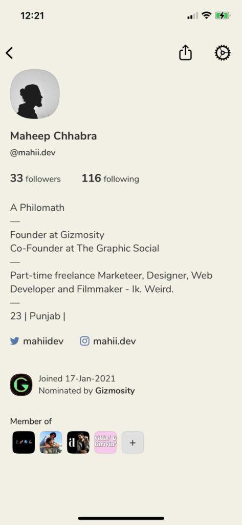 clubhouse profile screenshot
